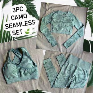 3Pc Camo Seamless set (Leggings, Bra, Crop Top)